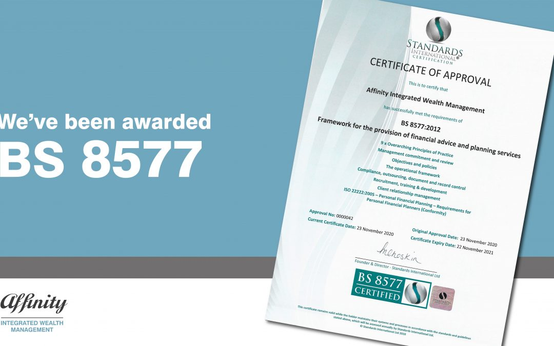 We have been awarded BS 8577!